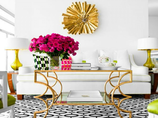 console table console Console Design Style 101: Hollywood Regency gold and white coffee table decor coffee beans 9201a3aa4abd03a9