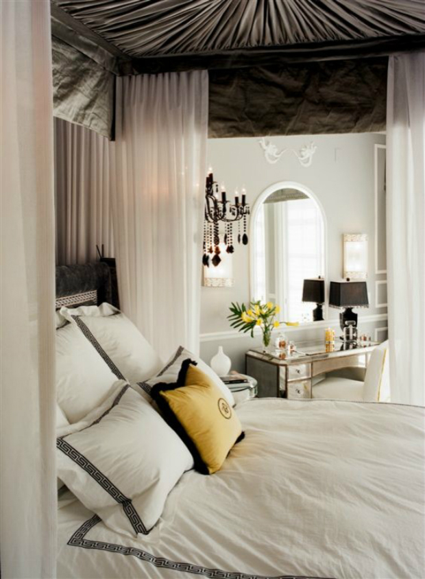 console Console Design Style 101: Hollywood Regency greek key bedding Bedroom Traditional with Bedroom black chandelier canopy