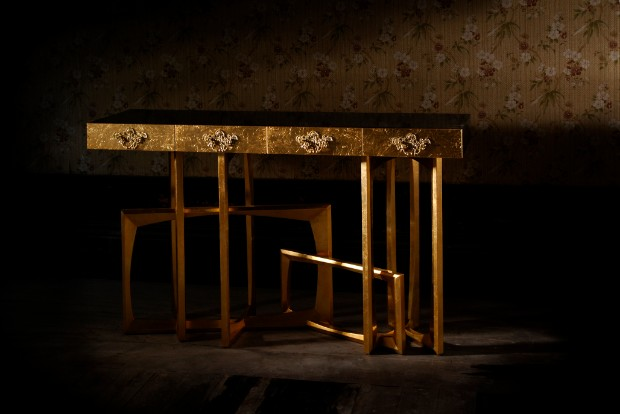 golden console Dazzling Golden Console Tables metropolis 03