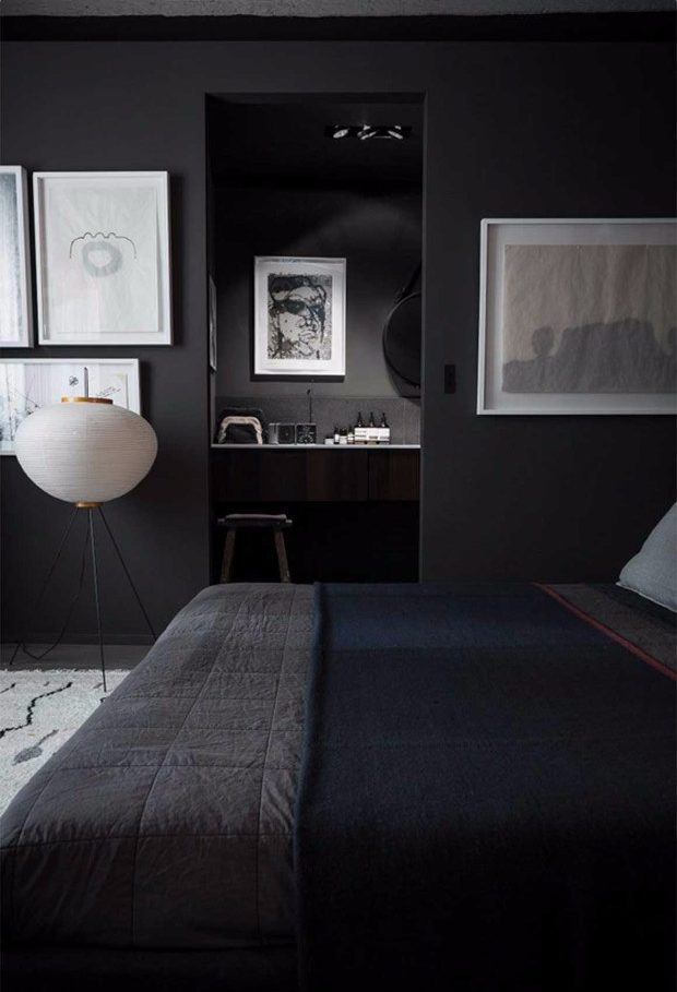 "color trends Color Trends 2017: ""Millennial Black"" Entirely Black bedroom e1497429199458"