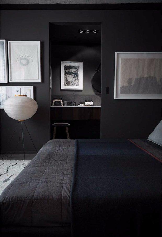 "color trends Color Trends 2017: ""Millennial Black"" Entirely Black bedroom e1497429199458"