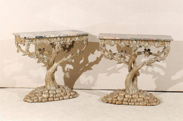 modern console tables modern console tables Tree-Inspired Modern Console Tables 6 pair of vintage silver and gold consoles