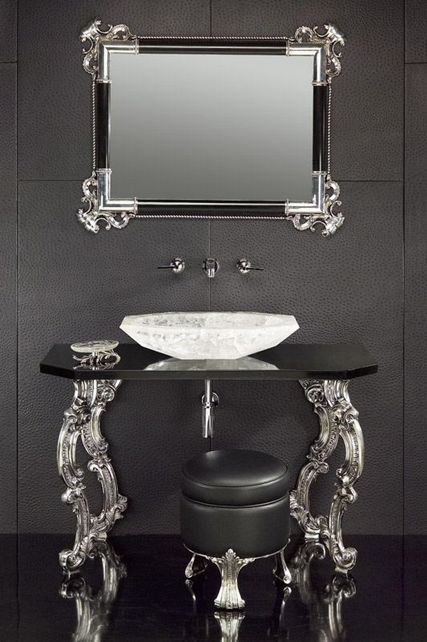 master bathroom Modern Console Tables for a Luxury Master Bathroom bee3a316c888b0bec6efad697f385353 luxury bathrooms consoles