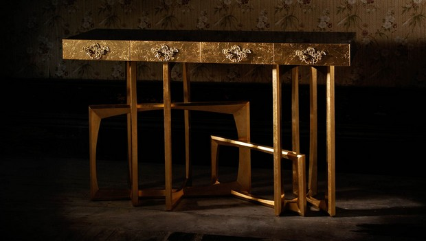 golden console tables