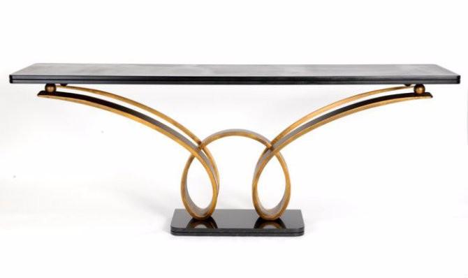 llorente Taylor Llorente Elegant Console Tables ANTIQUED GOLD DOUBLE LOOP CONSOLE TABLE