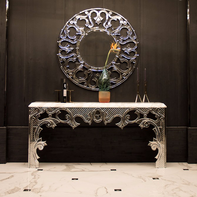 Taylor Llorente Elegant Console Tables llorente Taylor Llorente Elegant Console Tables FRET WORK ENGRAVED CONSOLE TABLE WITH MARBLE TOP