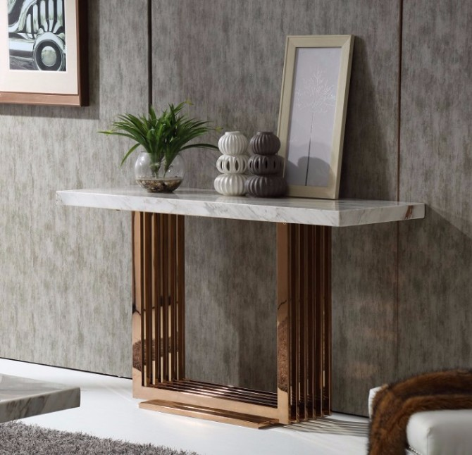 marble console table Top 10 Interior Inspiration Ideas with Marble Console Tables Fabrizio White Top Marble Console Table