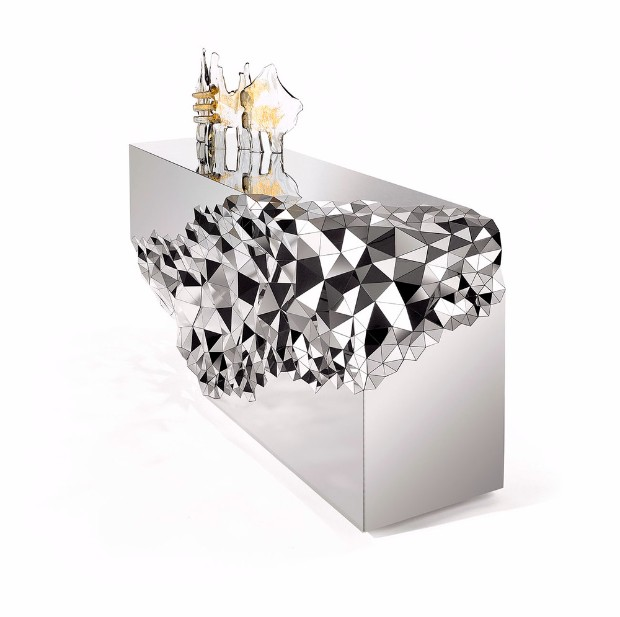 console table Console Table Mirrored Geometric Stellar Console Table by Jake Phipps Mirrored Geometric Stellar Console Table by Jake Phipps 5