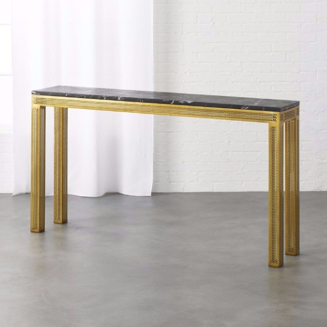 marble console table Top 10 Interior Inspiration Ideas with Marble Console Tables Perforated Marble Console by CB2