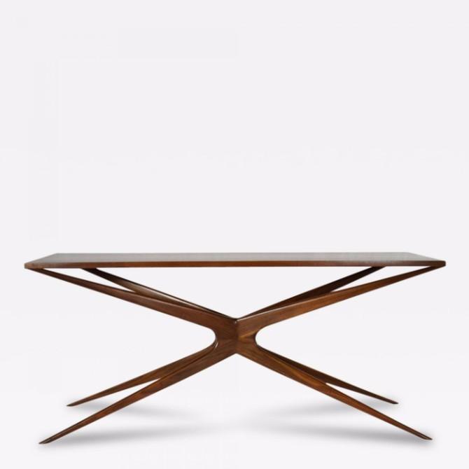 llorente Taylor Llorente Elegant Console Tables SCULPTURAL WALNUT CONSOLE TABLE