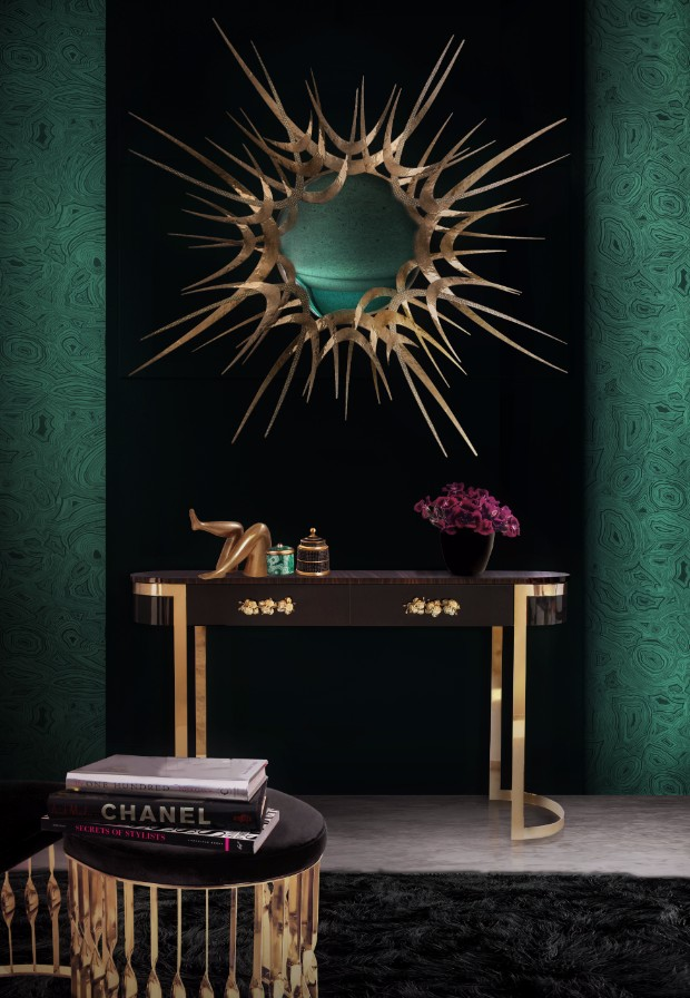 high point market The Best Console Tables at High Point Market guilt mirror orchidea console mandy stool koket projects