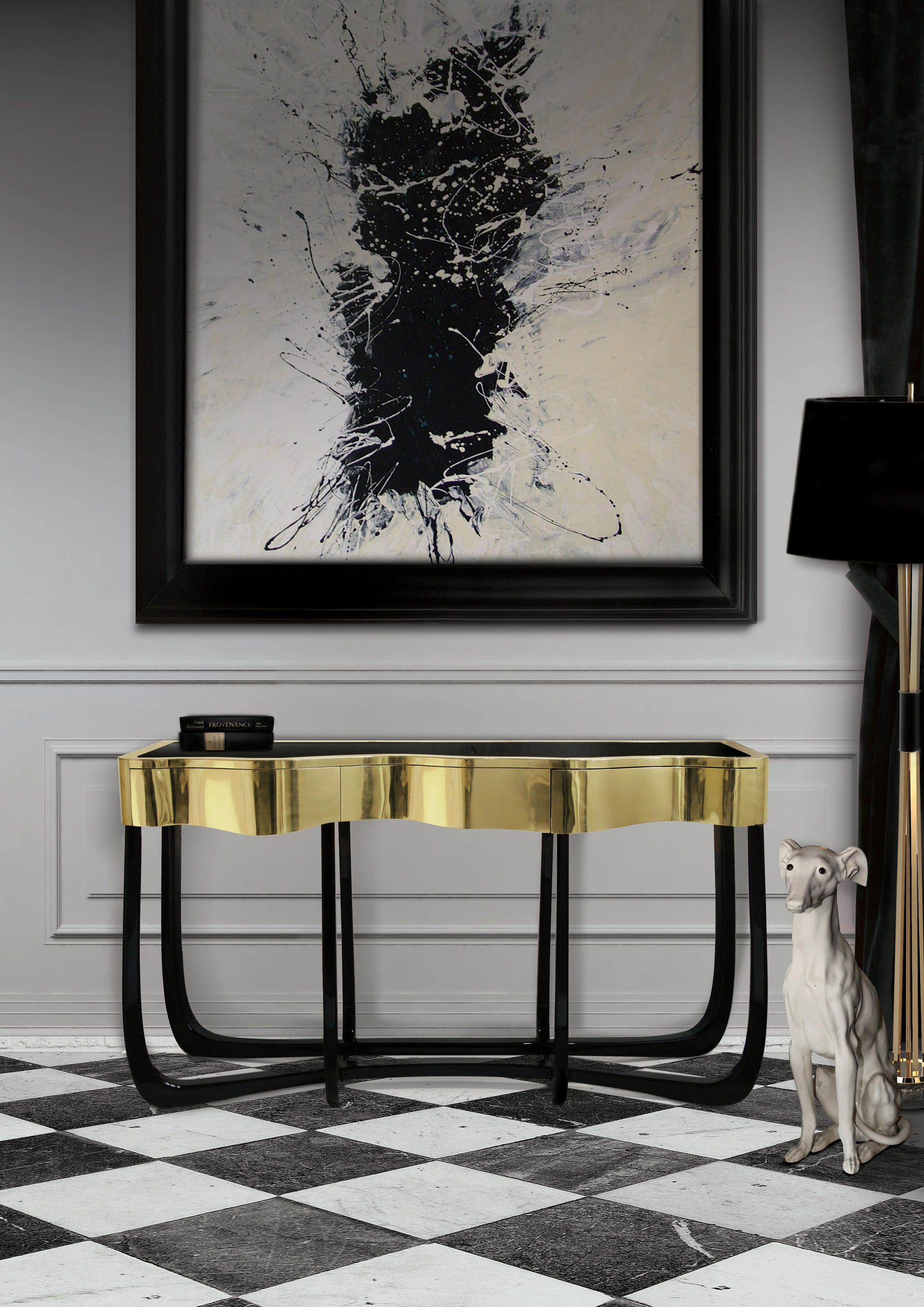 console tables Breathtaking Console Tables With Gold Brass Finish 3 Breathtaking Console Tables With Gold Brass Finish
