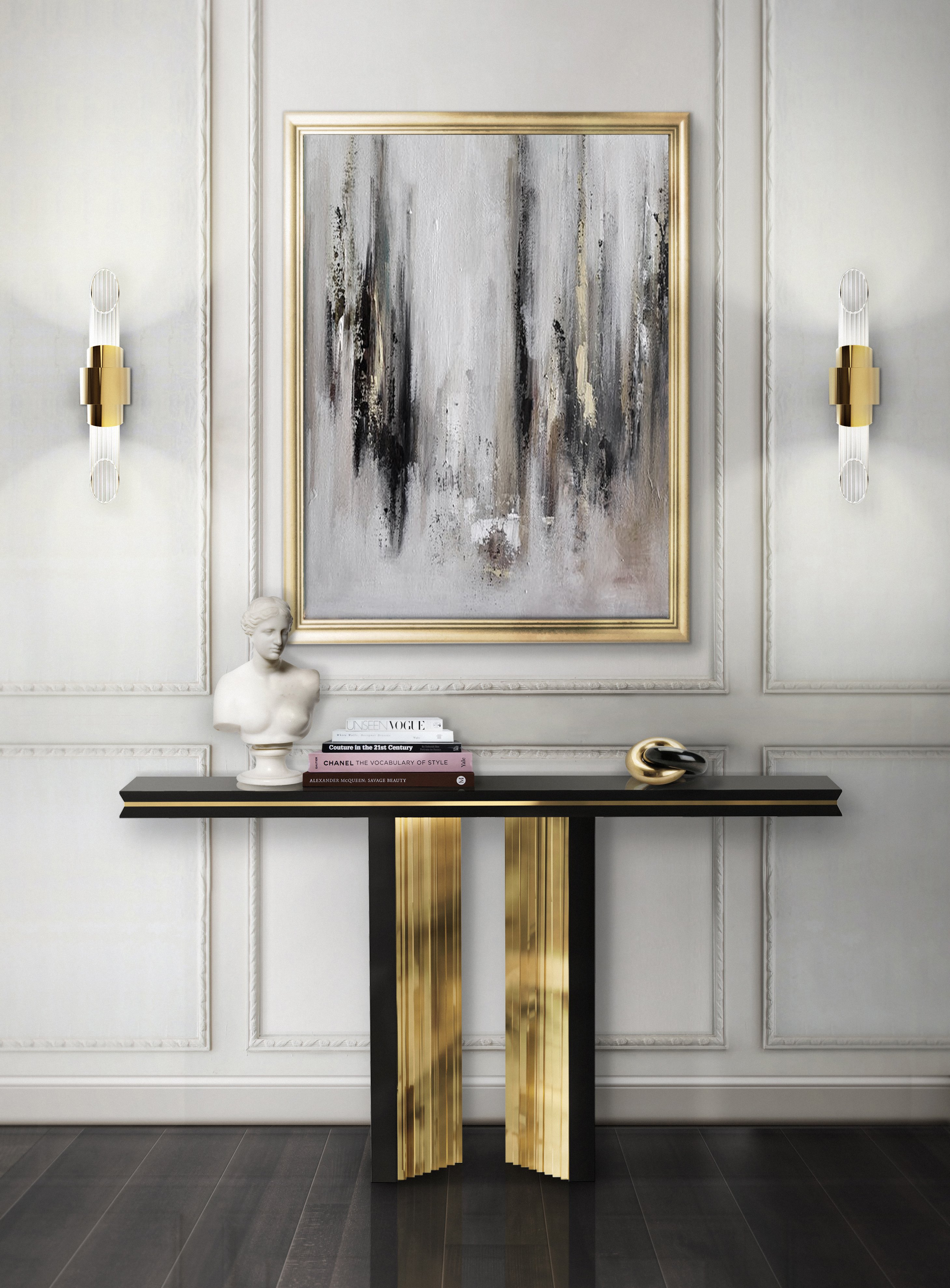 console tables Breathtaking Console Tables With Gold Brass Finish 8 Breathtaking Console Tables With Gold Brass Finish