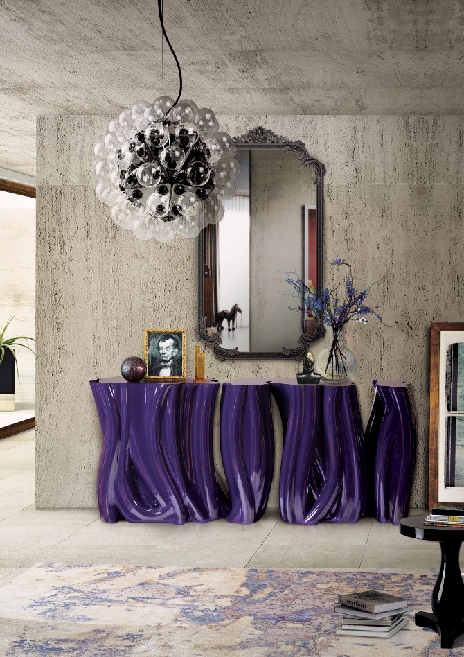 purple rooms purple rooms 10 Vibrant Purple Rooms with Console Tables Monochrome Purple Boca do Lobo