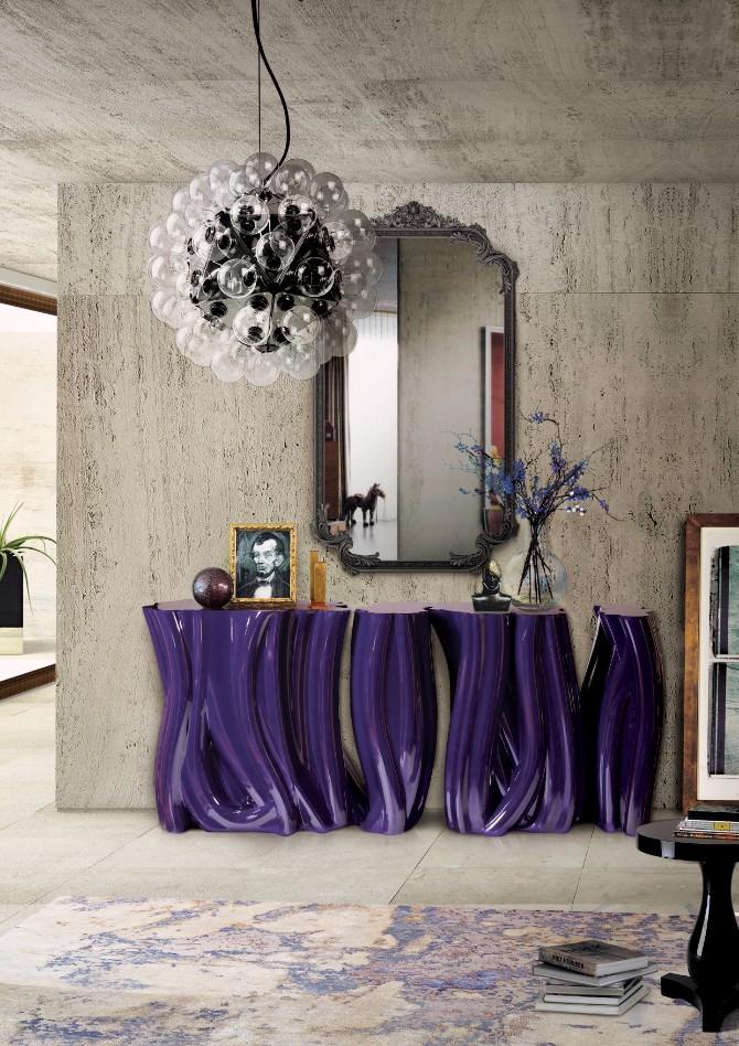 purple rooms purple rooms 10 Vibrant Purple Rooms with Console Tables Monochrome Purple Boca do Lobo