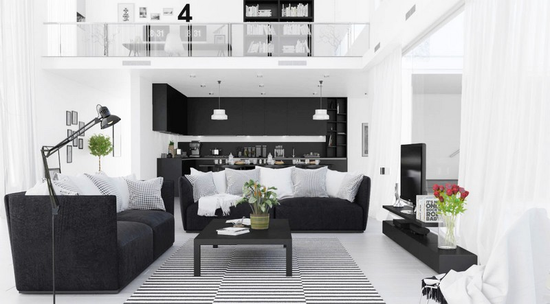 Living Room Design inspiration: Black and White Living Room Design inspiration Black and White Living Room3