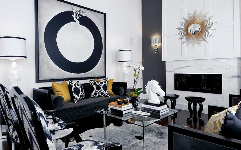 Living Room Design inspiration: Black and White Living Room Design inspiration Black and White Living Room9