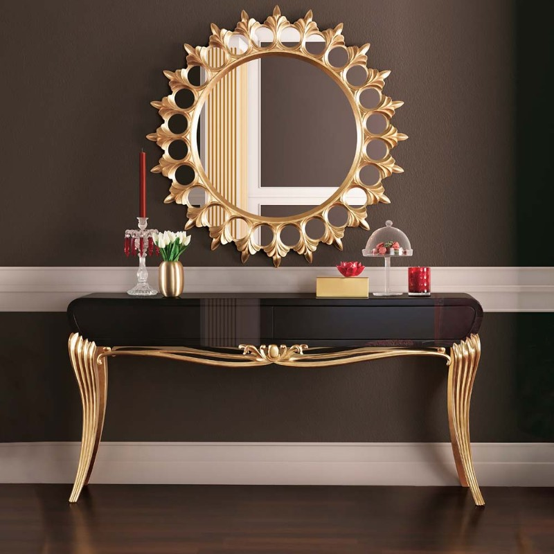 console tables Eye-Catching Console Tables That Fit Your Living Room And Entryway Gold Console 1