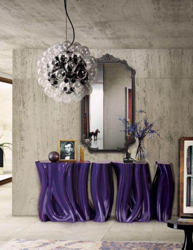 console tables Eye-Catching Console Tables That Fit Your Living Room And Entryway Purple Console