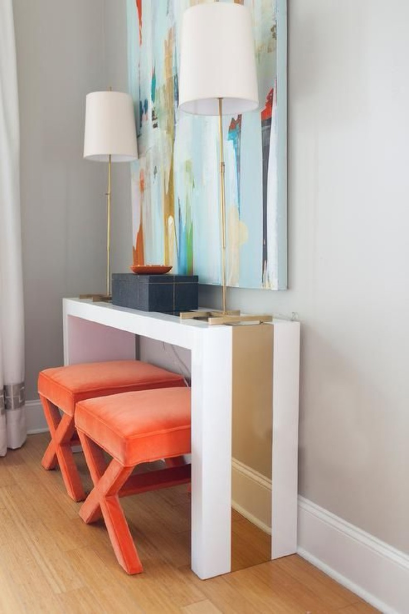 Foyer Table With Stools : Colourful console table for your entryway