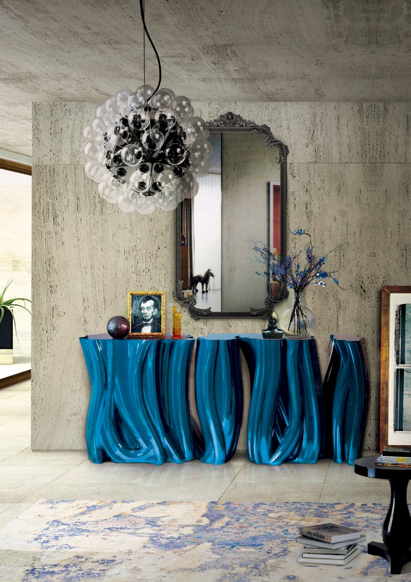 modern console tables Artistic Modern Console Tables For An Artist Home monochrome blue