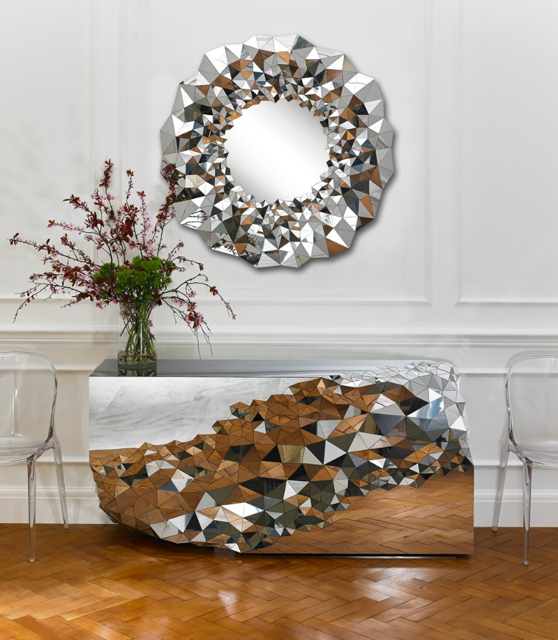 Geometric Mirrored Console Table By Jake Phipps