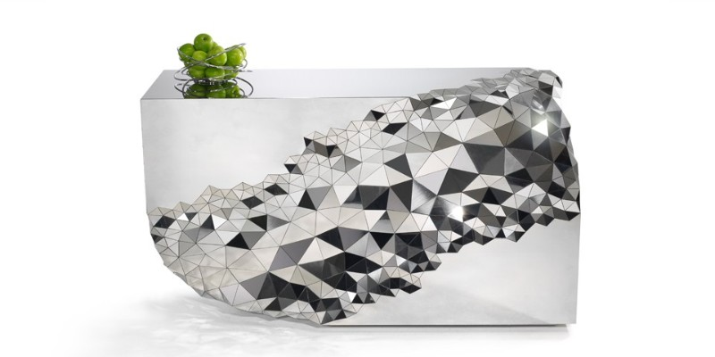 Mirrored Console Table Geometric Mirrored Console Table By Jake Phipps Geometric Mirrored Console Table By Jake Phipps 3