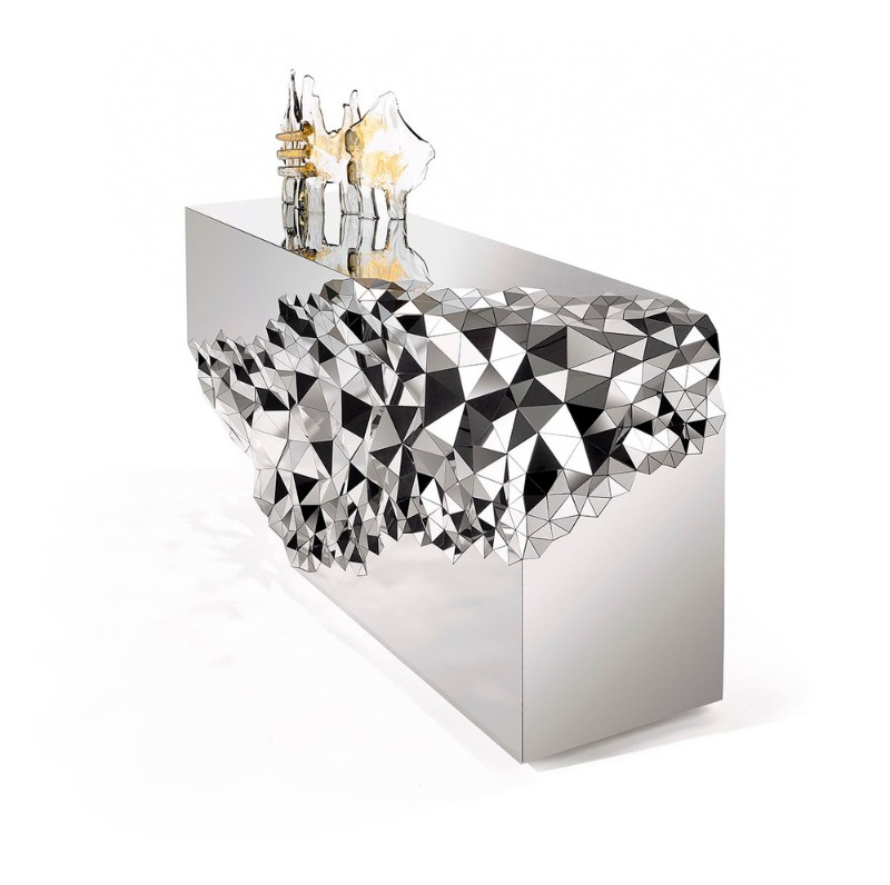 Mirrored Console Table Geometric Mirrored Console Table By Jake Phipps Geometric Mirrored Console Table By Jake Phipps 4