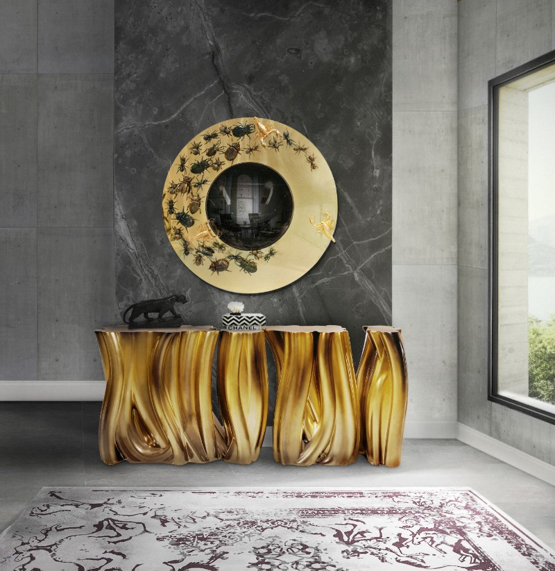 console table Summer Trends: Shining Bright Like a Console Table ambience monochrome gold boca do lobo
