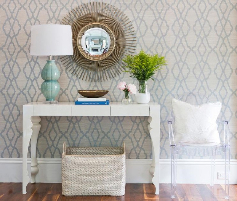 Improve your console table decoration with a wallpaper wallpapers Improve your console table decoration with wallpapers foyer blue and green trellis wallpaper gold starburst mirror
