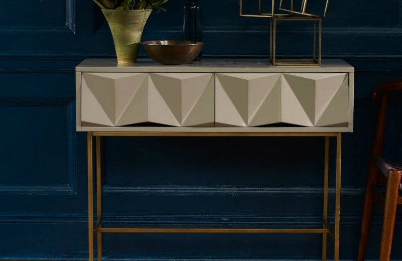 modern console tables Trends 2018: Golden Modern Console Tables sculpted geo