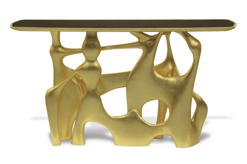 modern console table, craftmanship, fine art, luxury living room, gold leaf, luxury brands, exclusive design, handmade home décor, interior design, gold leaf Craftmanship Gold Leaf - Fine Art Pieces Inside A Luxury Living Room Craftmanship Gold leaf Fine Art Pieces Inside A Luxury Living Room