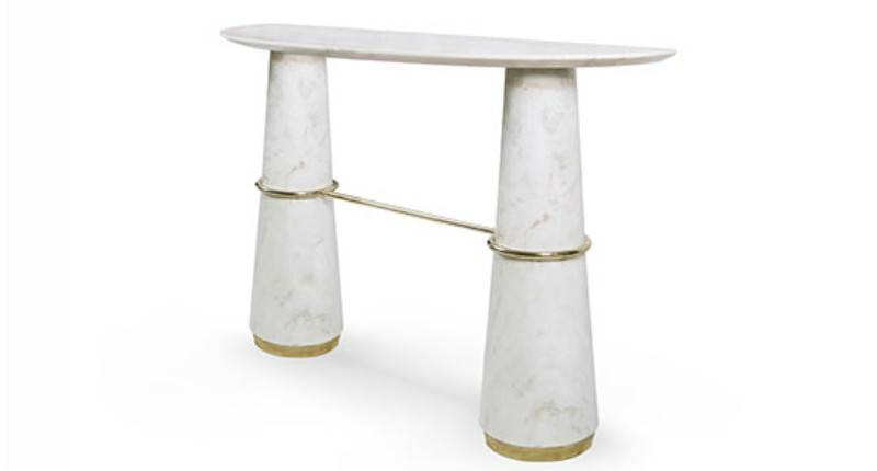 console table 10 Slender And Elegant Console Tables for Small Spaces agra white marble console brabbu