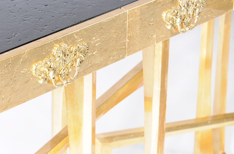console table 10 Slender And Elegant Console Tables for Small Spaces metropolis gold console MCT 1