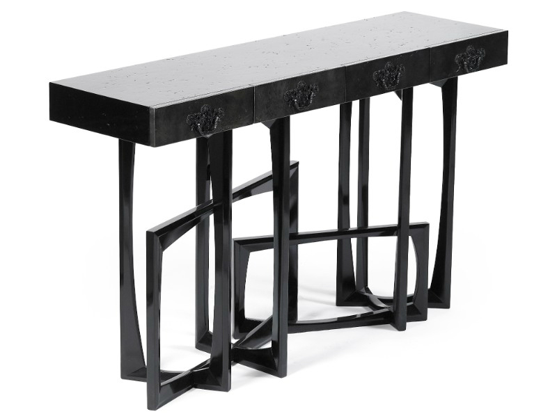 console table 10 Slender And Elegant Console Tables for Small Spaces metropolis gold console MCT 2