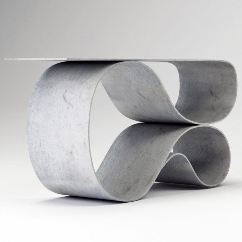 console table Neal Aronowitz Folds Concrete Cloth Into Sculptural Console Table neal aronowitz MCT 1