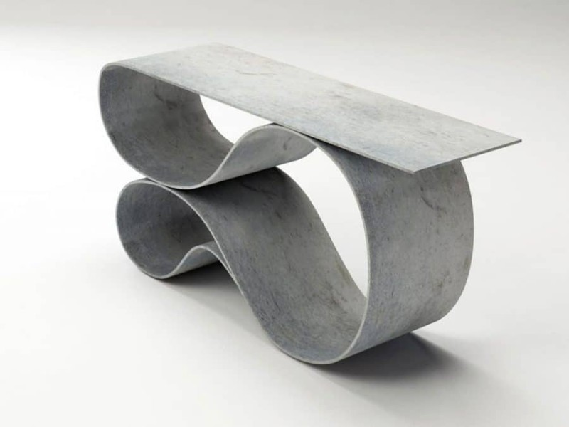console table Neal Aronowitz Folds Concrete Cloth Into Sculptural Console Table neal aronowitz MCT 5