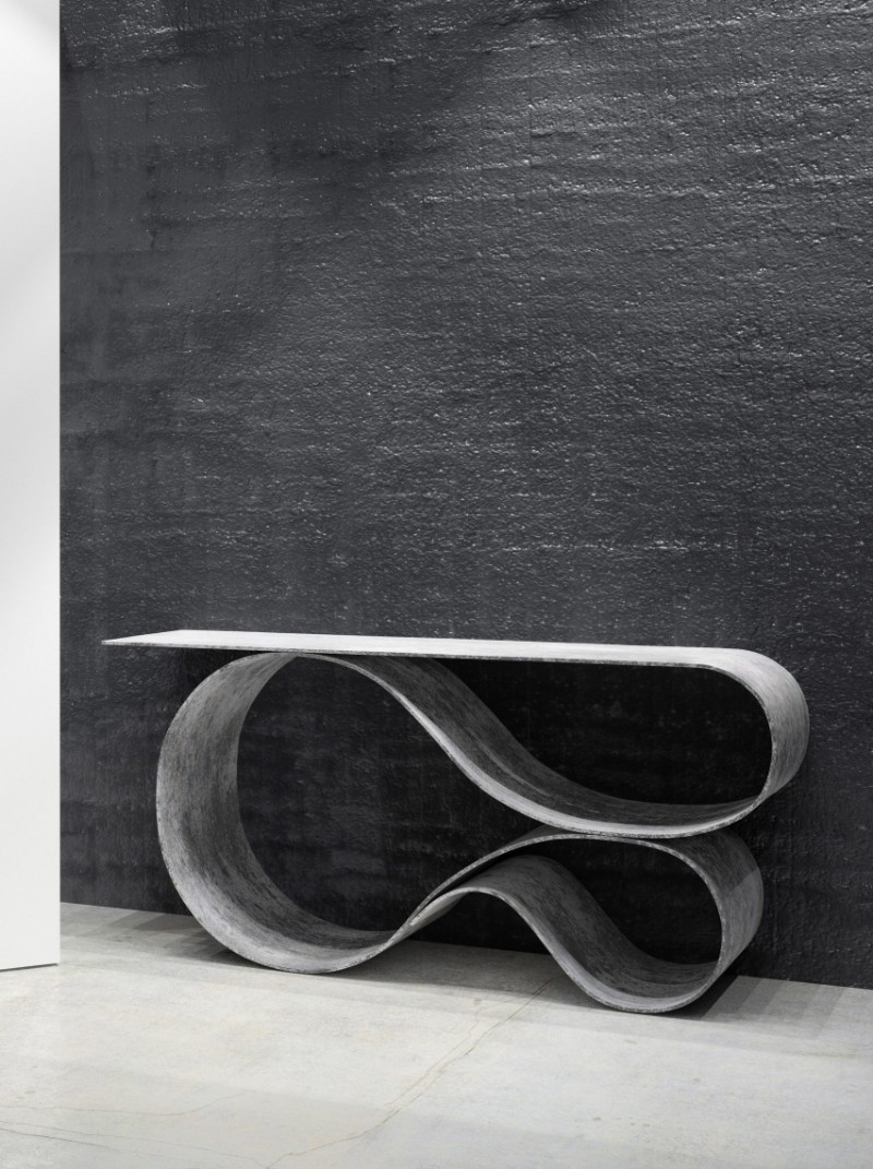 modern console tables, console table, interior decoration, masterpiece, luxury brand, interior designer, cloth, living space console table Neal Aronowitz Folds Concrete Cloth Into Sculptural Console Table neal aronowitz MCT