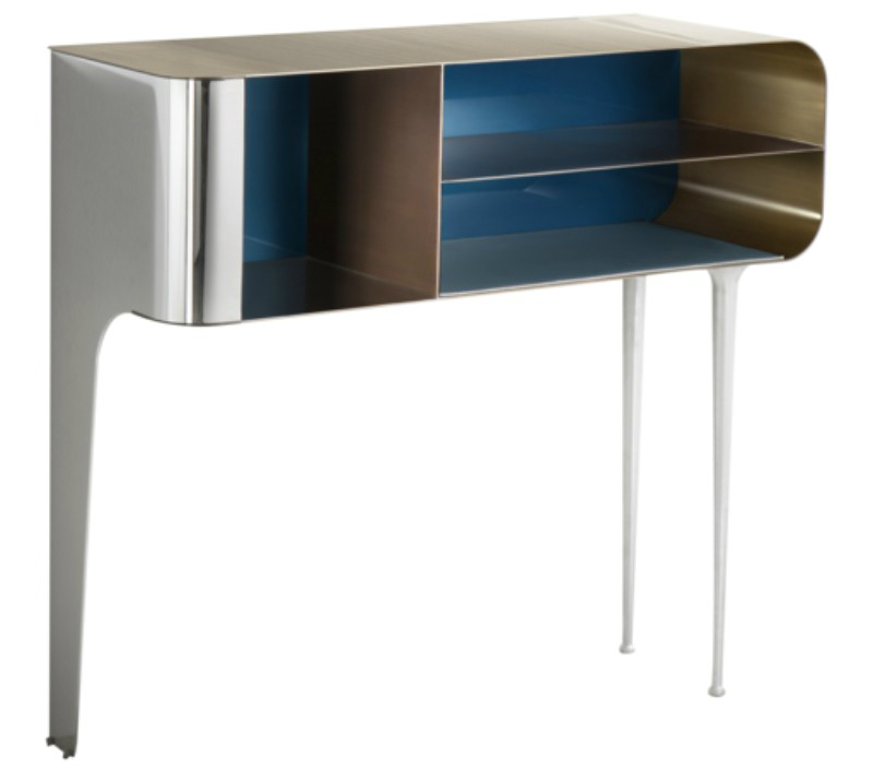 console table Charming Console Table Ideas with Navy and White Inlay solometallo artemest