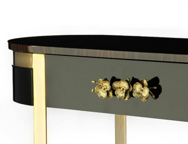 Black Console Table with golden details