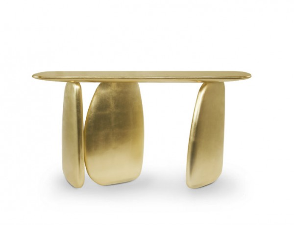 Modern console table at salone del mobile
