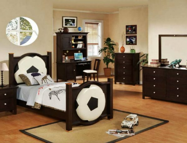 Console Tables Modern Console Tables for Children Room football monochrome and darkwood boys room 1 600x460