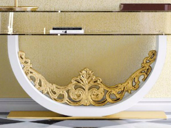 console tables Luxurious Golden Modern Console Tables Gold Console table 2 CAPA 600x449