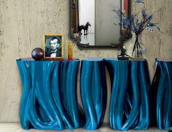 navy-blue The Best Navy-Blue Modern Console Tables Ideas monochrome blue 600x460