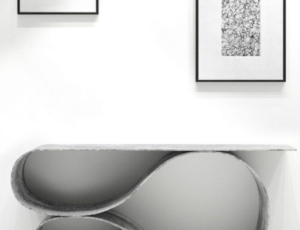 console table Neal Aronowitz Folds Concrete Cloth Into Sculptural Console Table neal aronowitz MCT featured 600x460