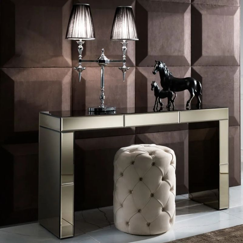 Mirrored Console Table Designs To Inspire You mirrored console table Mirrored Console Table Designs To Inspire You Modern Designer Bronze Mirrored Console Table With Drawer 1