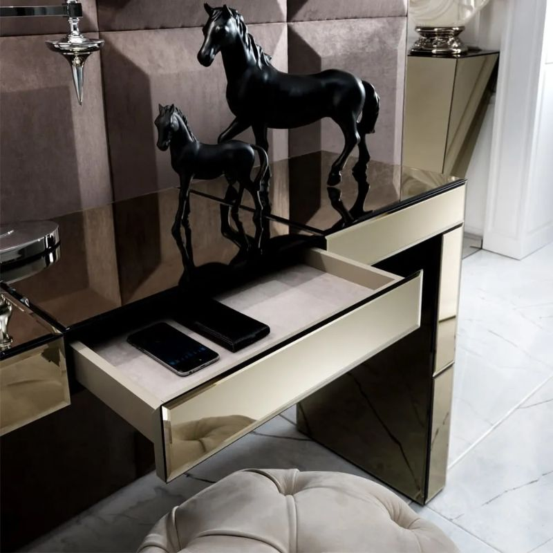 Mirrored Console Table Designs To Inspire You mirrored console table Mirrored Console Table Designs To Inspire You Modern Designer Bronze Mirrored Console Table With Drawer 2 1