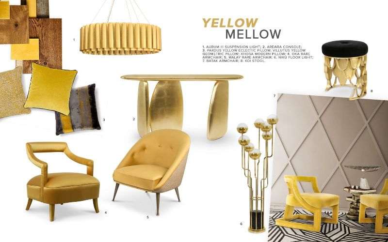 living room furniture Trendy Colors for Living Room Furniture moodboard trends 2019 color mellow yellow 800x500