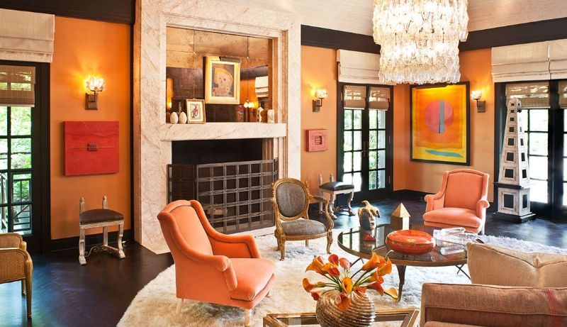 living room furniture Trendy Colors for Living Room Furniture orange 2
