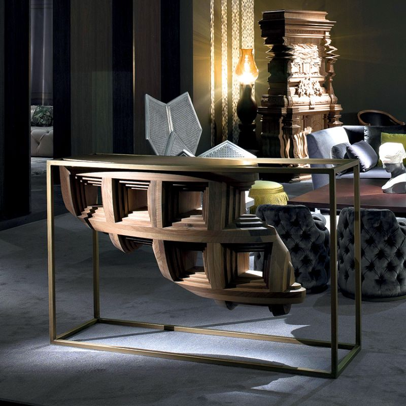 Contemporary Console Tables For Your Living Room contemporary console tables Contemporary Console Tables For Your Living Room sculptural console table roomset